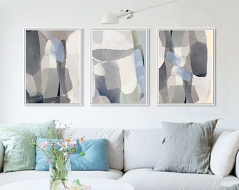 Gray Abstract Art Set Of 3 Prints Downloadable Art Modern Posters Living Room Art Set Mid Century Art Neutral Abstract Print Beige Wall Art