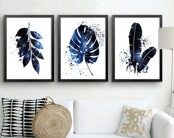 88d95e73f01 Tropical Leaf Print Navy Blue Wall Art Set of 3 Prints Botanical Art Home  Decor Digital Download Leaves Poster Indigo Art Square Prints