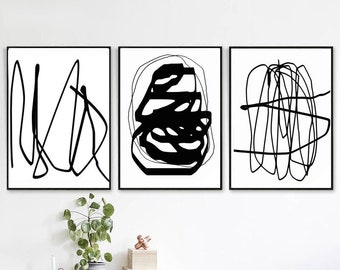 Set Of 3 Prints Line Abstract Black And White Art Line Art Printable Modern  Living Room Downloadable Art Trendy Art Print Line Poster 24x36