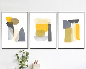Yellow Abstract Art Shapes Poster Living Room Art Modern Triptych Geometric Painting Set Of 3 Downloadable Prints Yellow Gray Wall Art