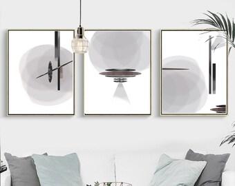 Abstract Art Set Of 3 Prints Downloadable Gray Wall Art Geometric Poster Large Print Grey Art Bedroom Art Black And White Modern Art 24x36
