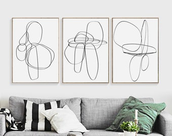 Abstract Poster Minimal Art Set Of 3 Prints One Line Drawing Print Instant  Download Lines Print Trendy Art Living Room Art Popular Art 24x36