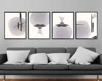 Gray Abstract Art Set of 4 Prints Extra Large Wall Art Circle Art Poster Set Modern Art Black And White Printable Downloadables Living Room
