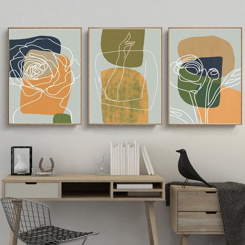 Abstrakte moderne Kunst Set von 3 Poster Wohnzimmer Wand