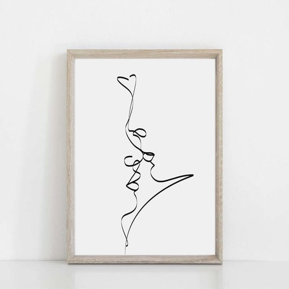 Single Line Print Love Poster Heart Art Romantic Gifts Love Etsy