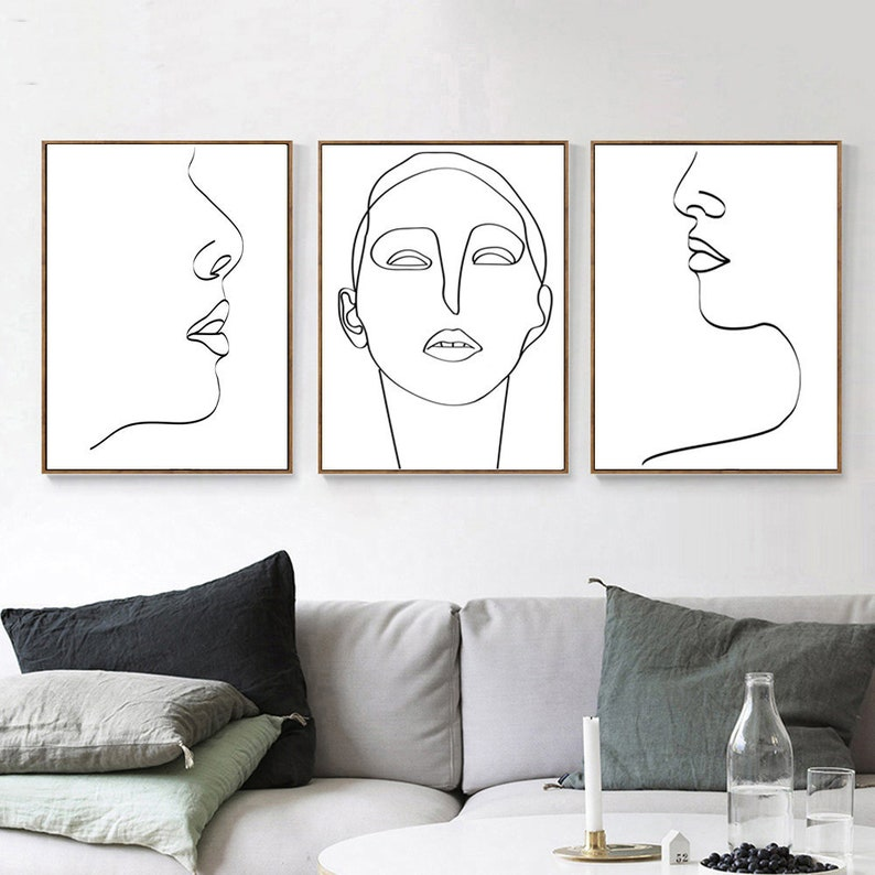 Face Line Drawing Minimal Print Modern Line Art Woman Poster image 0