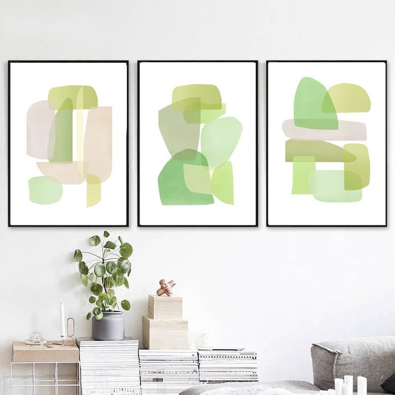 Green Wall Art Set Of 3 Prints Abstract Modern