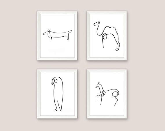 set von 4 drucke picasso skizze abstrakte tier digitaler etsy. Black Bedroom Furniture Sets. Home Design Ideas