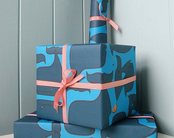 Wrapping Paper and Ribbon Set for Birthdays, Anniversaries and Special Occasions - Whale & Fish
