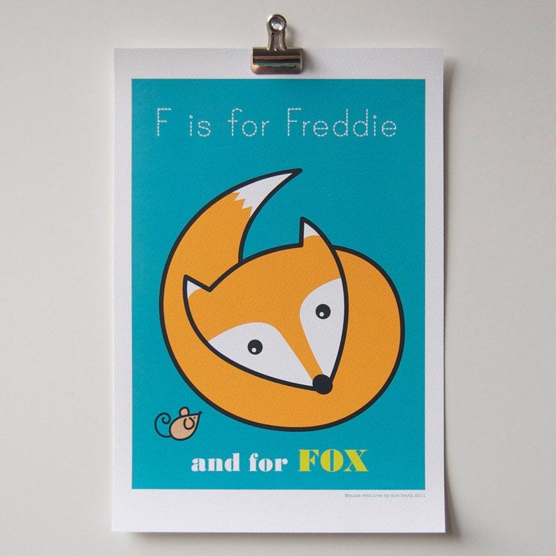 Childs Room Decor Personalised Animal Alphabet Print image 0