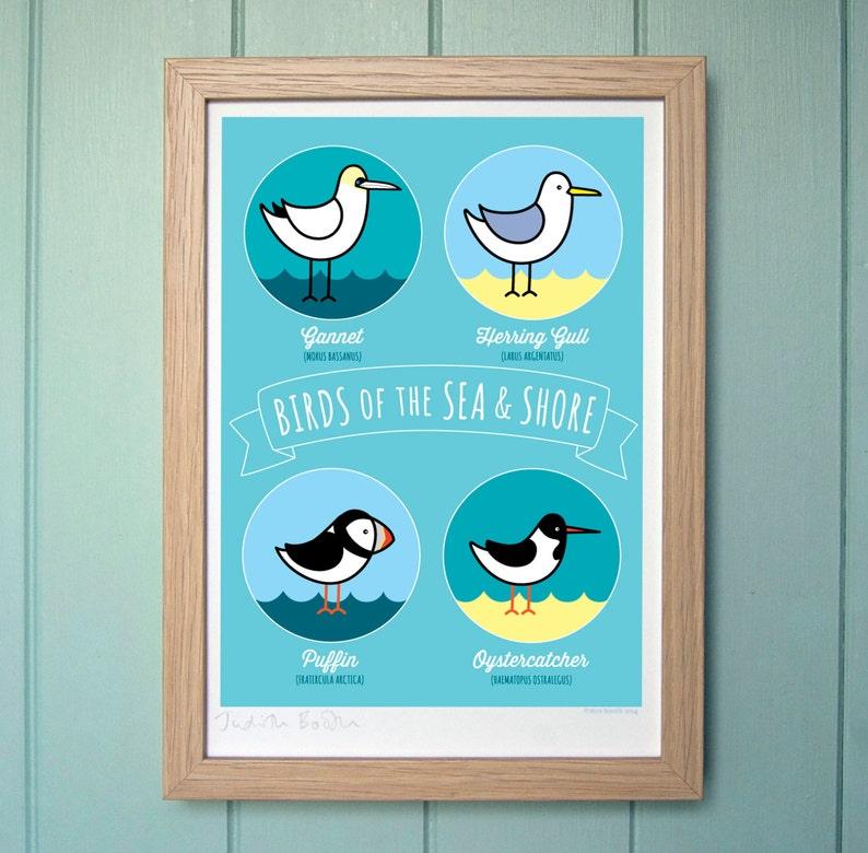 A4 Digital Print  Birds of the Sea & Shore image 0