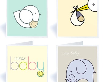 Four New Baby Greetings Cards