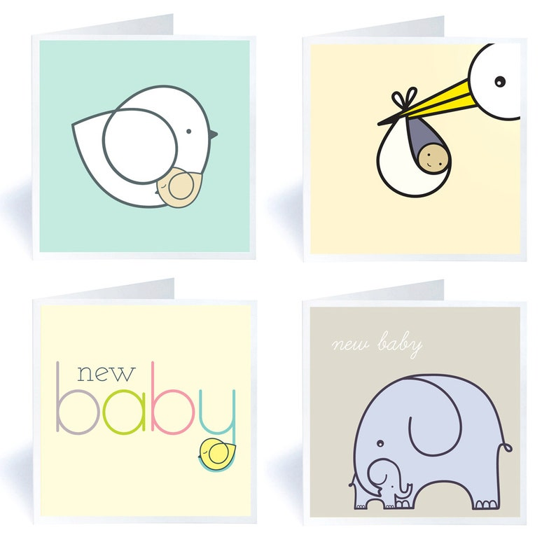 Four New Baby Greetings Cards image 0