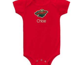 Personalized Minnesota Wild Baby Bodysuit Red 1ab4ff58f
