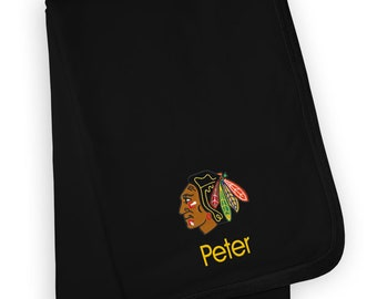 Personalized Chicago Blackhawks Hockey Fleece and Minky Baby Blanket burp rag or bib. Also available as a pillow