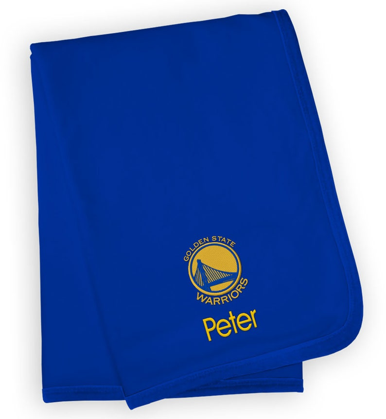 newest collection 56133 11bc6 Personalized Golden State Warriors Baby Blanket Royal
