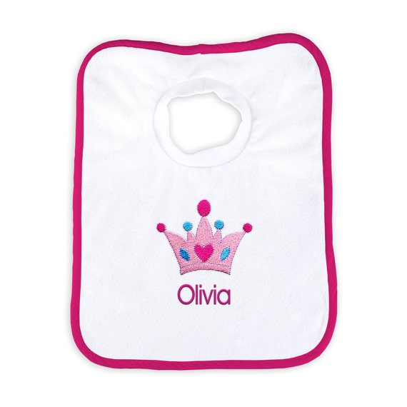 Name Princess Crown Embroidered Baby Pull-Over Bib Gift Personalised Girl