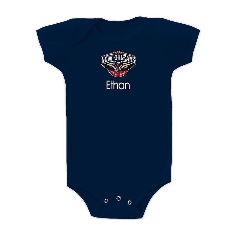 Personalized New Orleans Pelicans Baby Bodysuit Navy