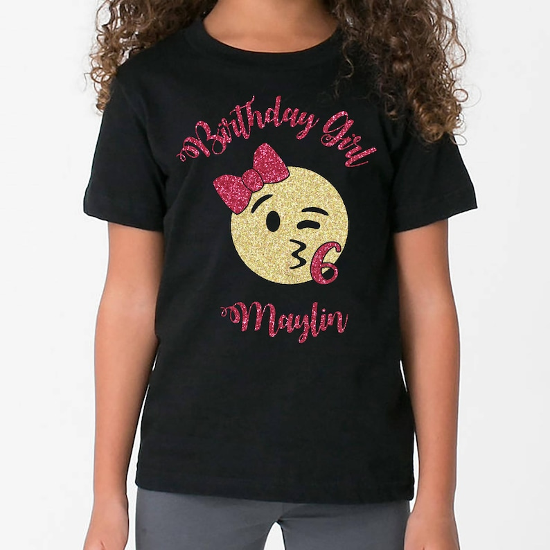 a04d336d3 Personalized Emoji Birthday Girl t-shirt | Etsy
