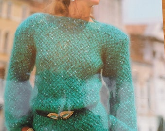 Original vintage knitting pattern by Argyll for a ladies slash neck sweater knitted in mohair