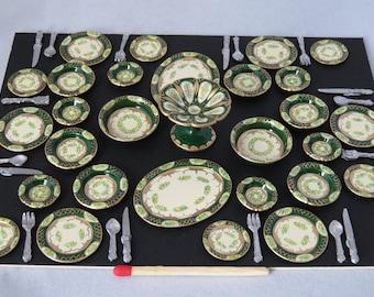 Hand-Painted Dollhouse Miniature Dinner Service - Dark Green
