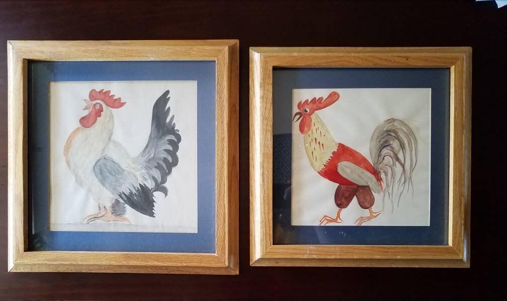 Pair Of Vintage Framed Rooster Water Color Paintings Oak Frames 13