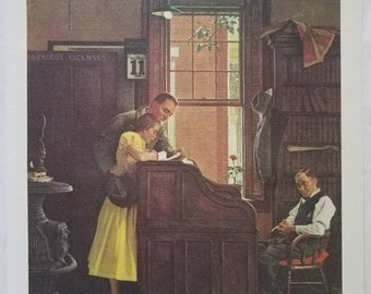 """Vintage Norman Rockwell """"Love's Old Sweet Song- June 11, 1955"""" Lithograph Canvas Print"""