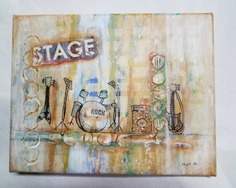 Signed Original Painting- Rock n' Roll, Music Stage, Guitars and Drums - Mixed Medium, Oil on Stretched Canvas 11x14