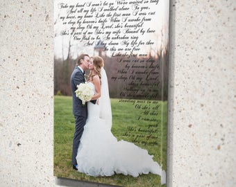 Wedding vow photo canvas wedding vow picture frame wedding vow keepsake canvas wedding vow canvas art personalized wedding gift lyric art