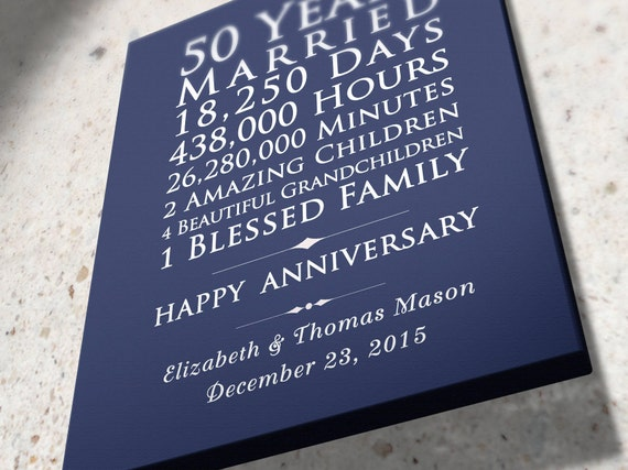Personalised 50th Wedding Anniversary Gifts: Personalized 50th Wedding Anniversary Gift 50 Years