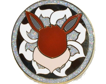 Eevee Medallion Hard Enamel pin, 1.5in