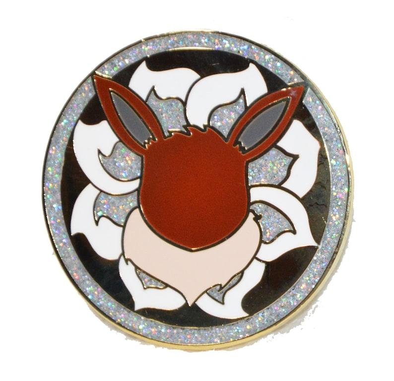 Eevee Medallion Hard Enamel pin 1.5in image 0