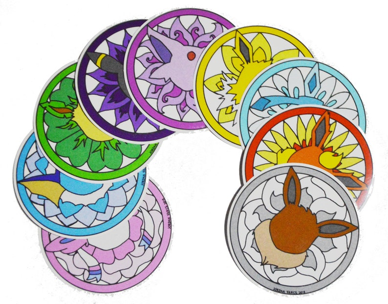 Eevee and the Eeveelutions 3in round transparent stickers image 0
