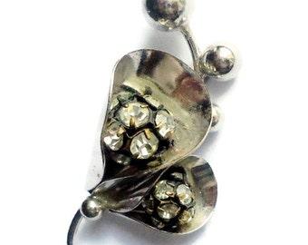 Vintage Brooch/ Flower Brooch Boho Jewelry/ Boho Brooch/ Boho Flower Brooch/ Flower Pin Metal/ Flower Brooch /Crystal  Flower /Gift For Her