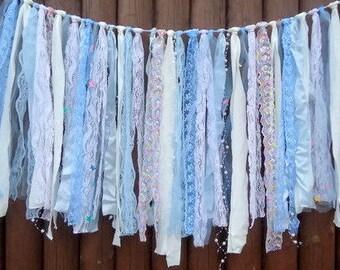 Baby shower garland, Fabric garland, Ribbon garland, Nursery decor, Photo prop, Baby shower decor