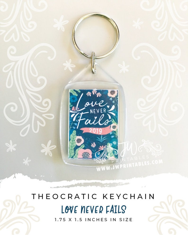 Love Never Fails Keychains (Blue) | JW Convention Keychains | JW Convention  Gifts - Love Never Fails Gifts - Best Life Ever