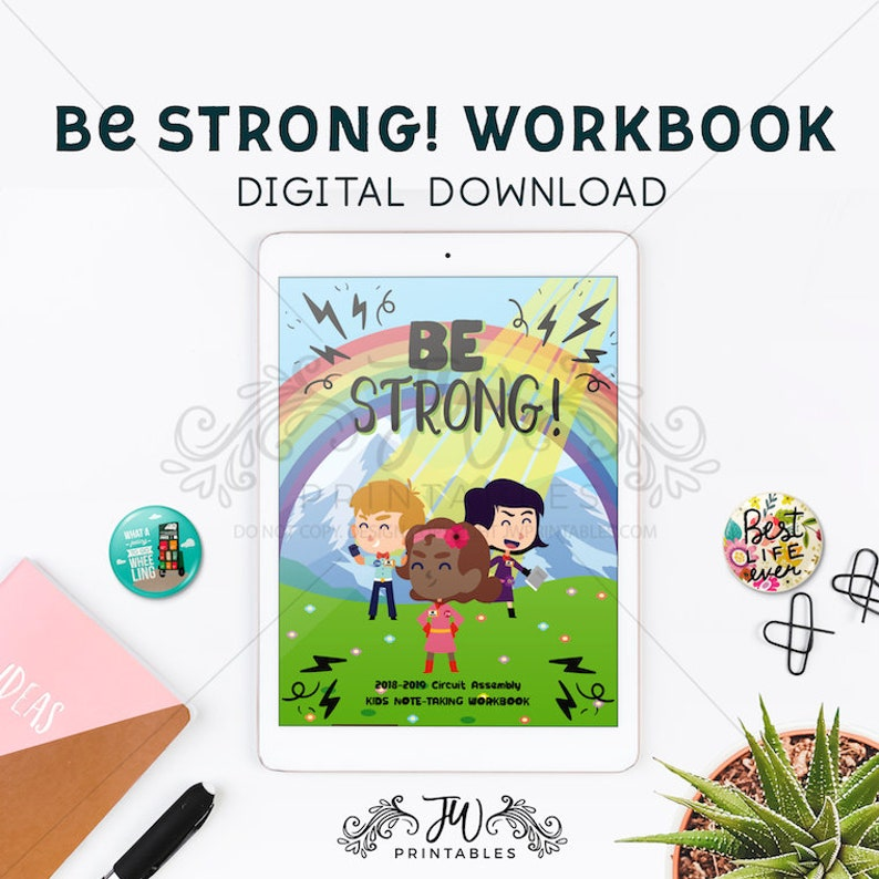JW Be Strong workbook kids printable be Strong assembly