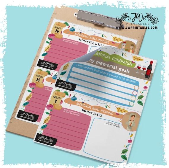 Kids Memorial Bible Reading & Goal Kit [DIGITAL] | Jw kids memorial  worksheets - Jw Kids Worksheets - Memorial JW 2019