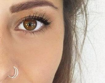 Sterling Silver Moon Nose Ring, 20, 22 Gauge, Half Moon, Nose Ring Hoop, Hoop Nose Ring Tragus Piercing, Septum Piercing Daith Jewelry, Stud