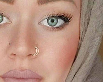 Double Nose Hoop Double Nose Ring Silver Nose Hoop Silver Etsy
