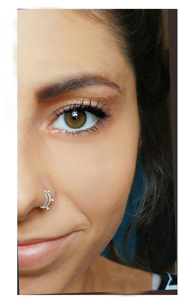 Boho Nose Ring Septum Ring Sterling Silver Nose Ring Dainty Nose Ring Gypsy Nose Ring Nose Ring Hoop Double Nose Ring Moon Nose Ring