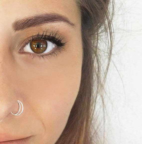 Sterling Silver Moon Nose Ring 20 22 Gauge Half Moon Nose Etsy