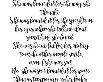 She Was Beautiful - F Scott Fitzgerald Art Print - Download or Free Shipping
