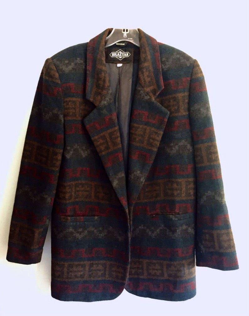 Women/'s Braetan Vintage 90s Southwestern Wool Blend Blazer
