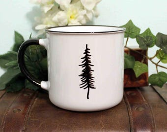 "MUG - Hand Drawn, Ceramic- ""Basecamp"" Black and White"