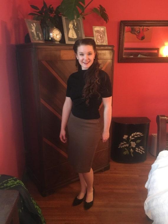 1950s Wool Pencil Skirt