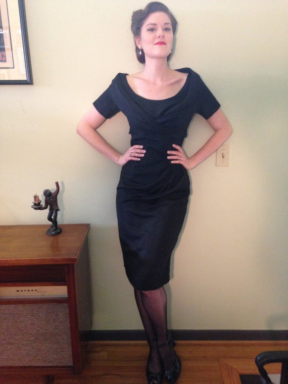 1950s Lord and Taylor black cocktail dress.