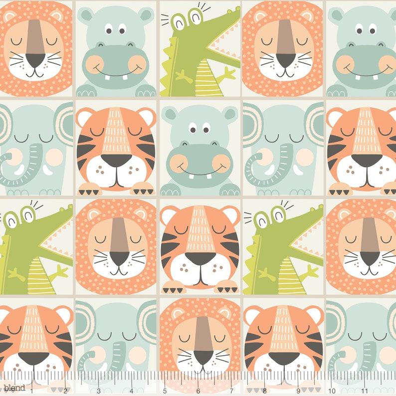 Cotton Fabric Animal Crackers by  Maud Asbury Blend  Fabrics Miney Moe