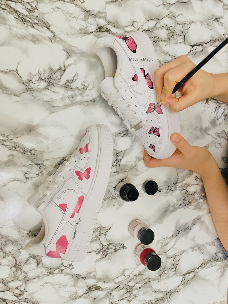 Custom Nike Air Force 1 Low Trail Pink Butterfly Air Force Hand Painted