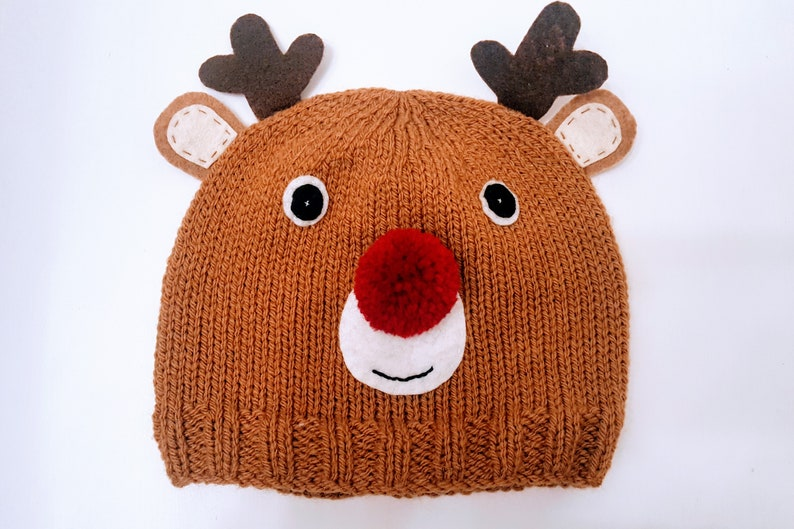 30be3d7dcac Christmas Reindeer Knitted Beanie Hat